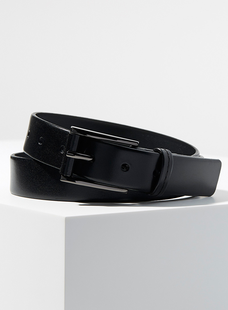 Supple Italian leather belt - Dressy - Black