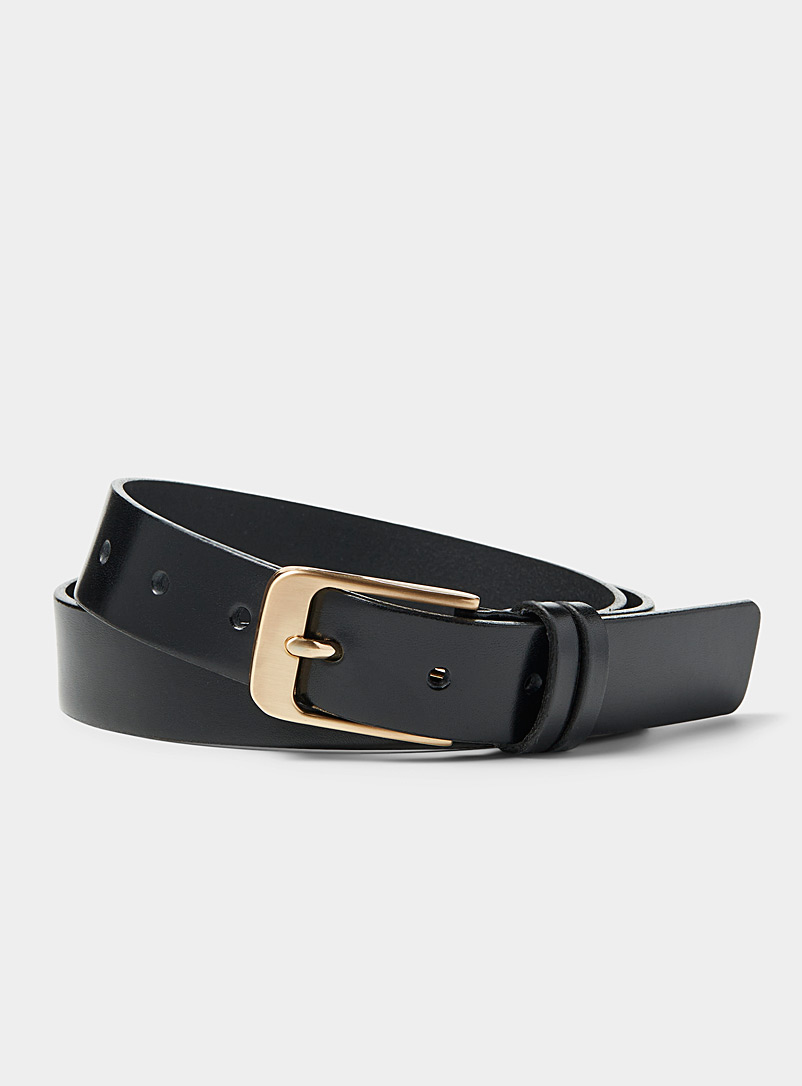 Le 31 Black Gold-buckle belt for men