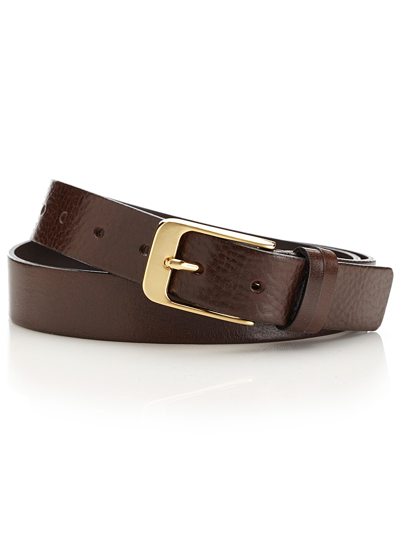 Gold-buckle belt - Belts & Suspenders - Brown