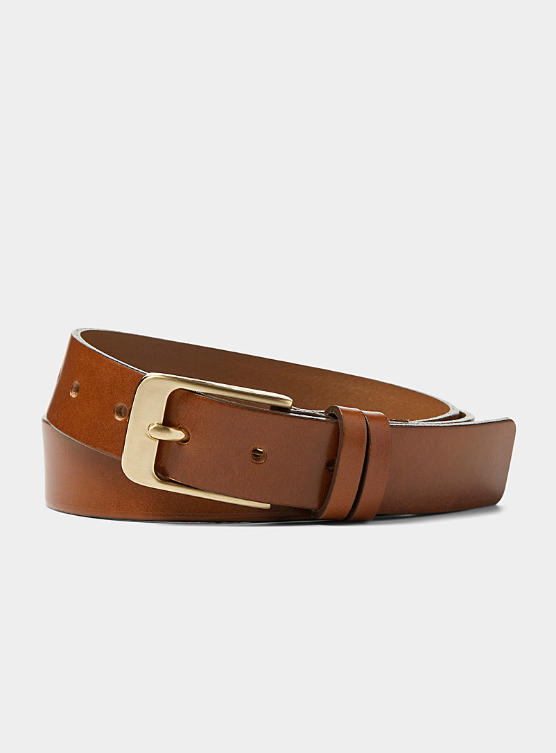 Le 31 Fawn Gold-buckle belt for men