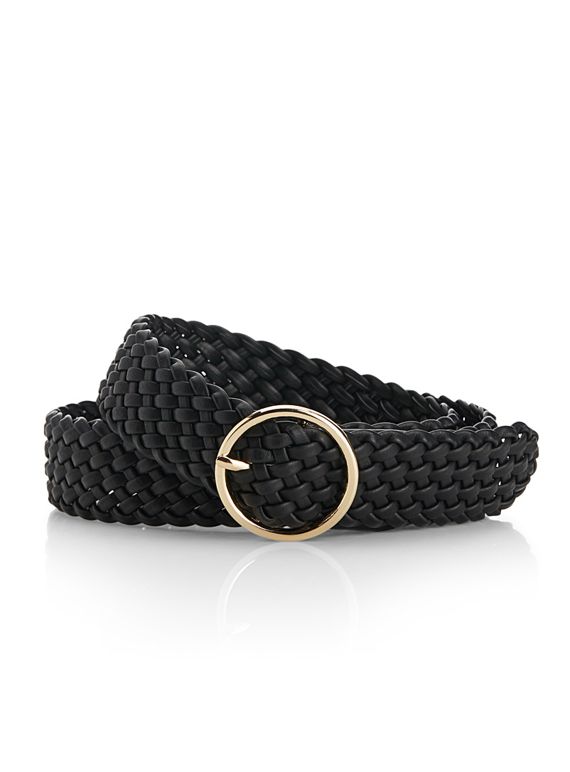 Braided wide leather belt - Belts - Black