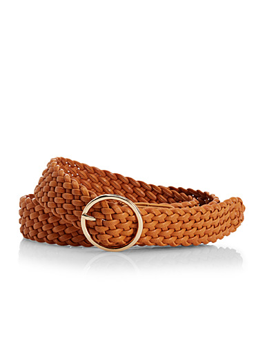Braided wide leather belt