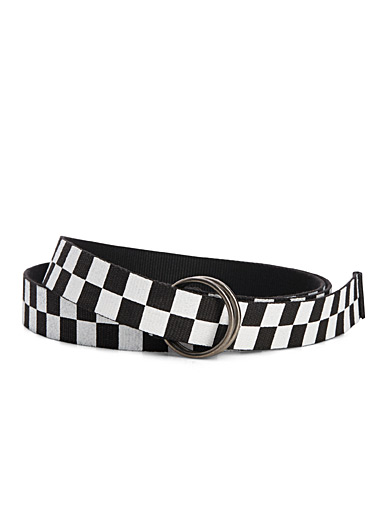 Checkered woven long belt