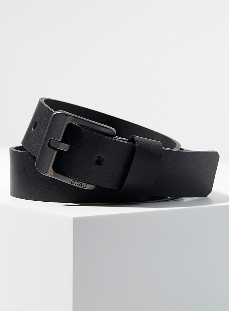 Djab Black Vintage buckle leather belt for men