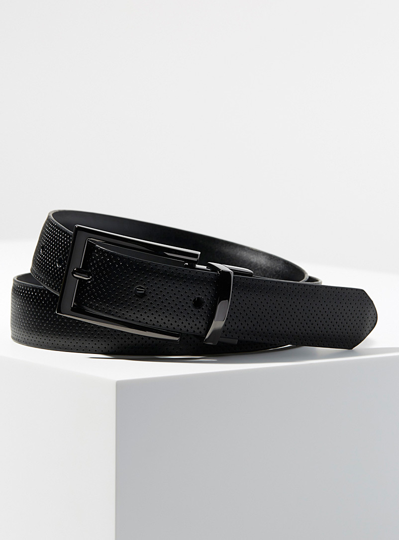 Reversible perforated leather belt - Dressy - Black