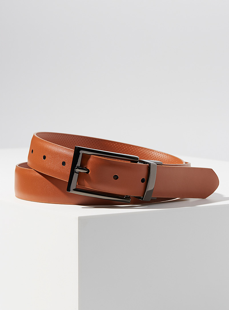 Le 31 Brown Reversible perforated leather belt for men