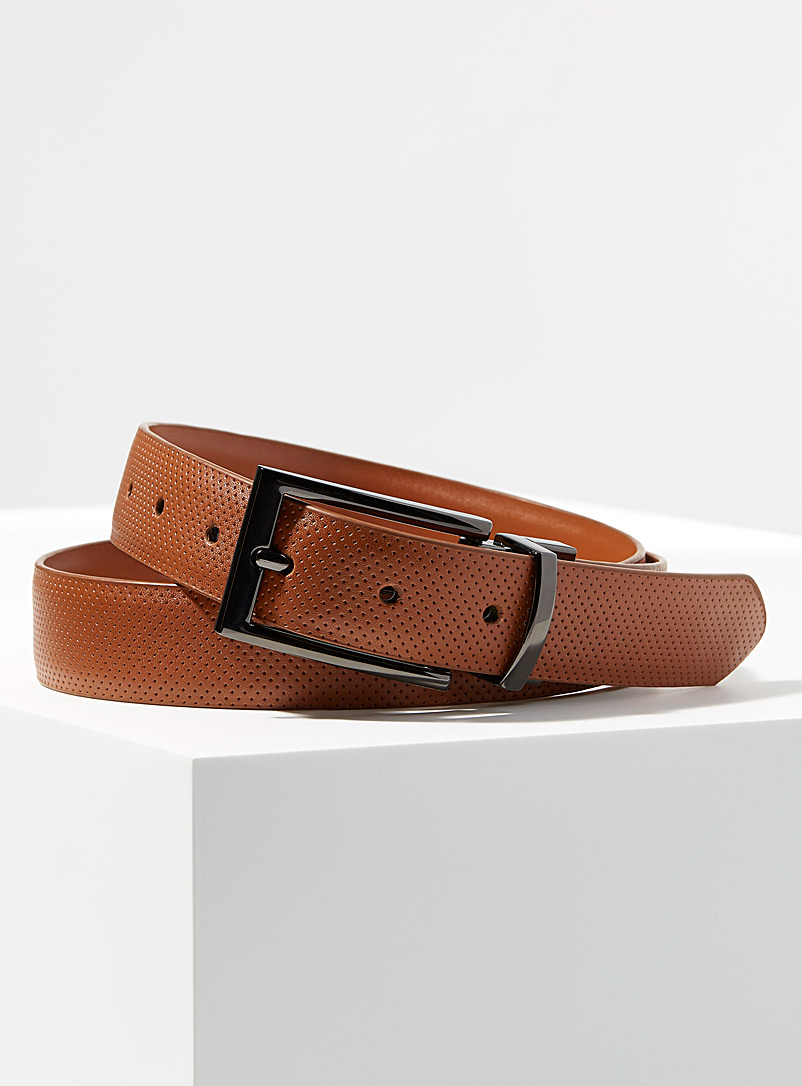 Reversible perforated leather belt - Dressy - Fawn