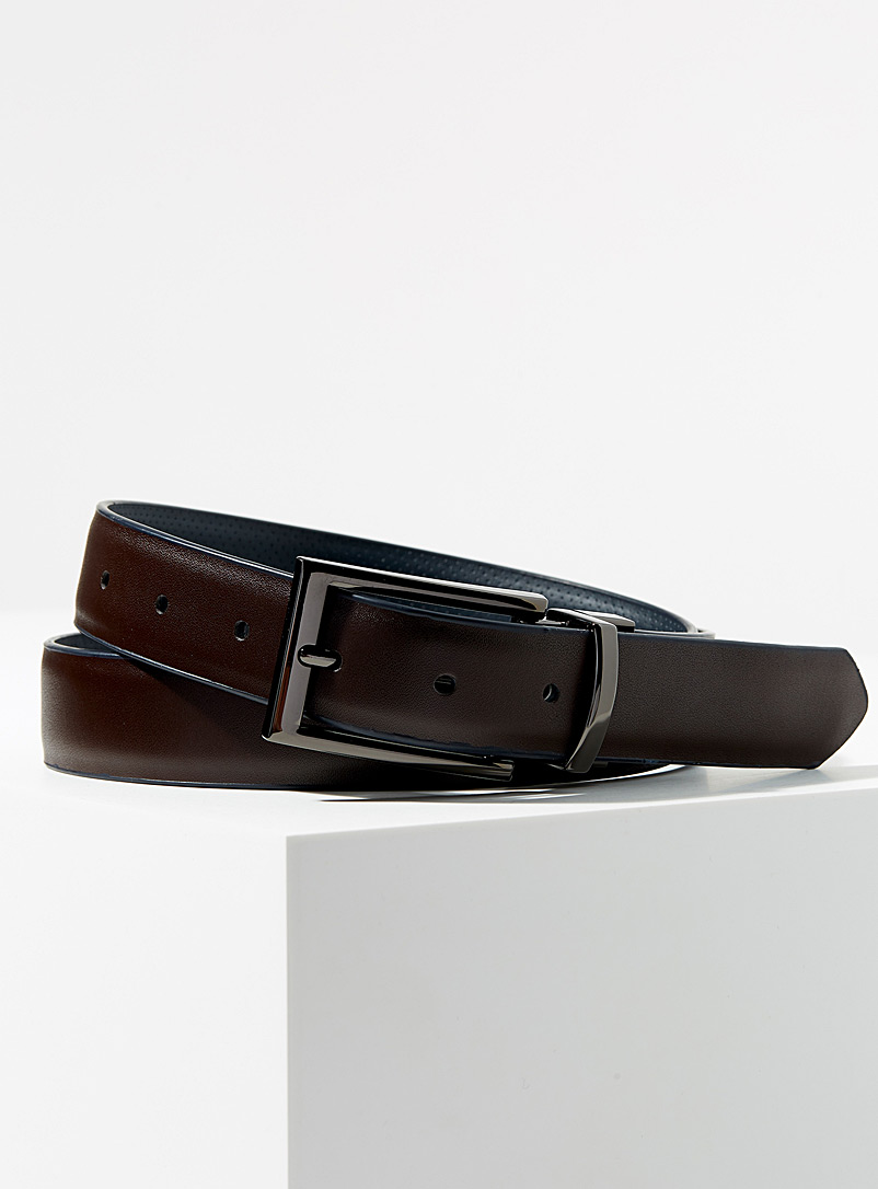 Reversible perforated leather belt - Dressy - Marine Blue