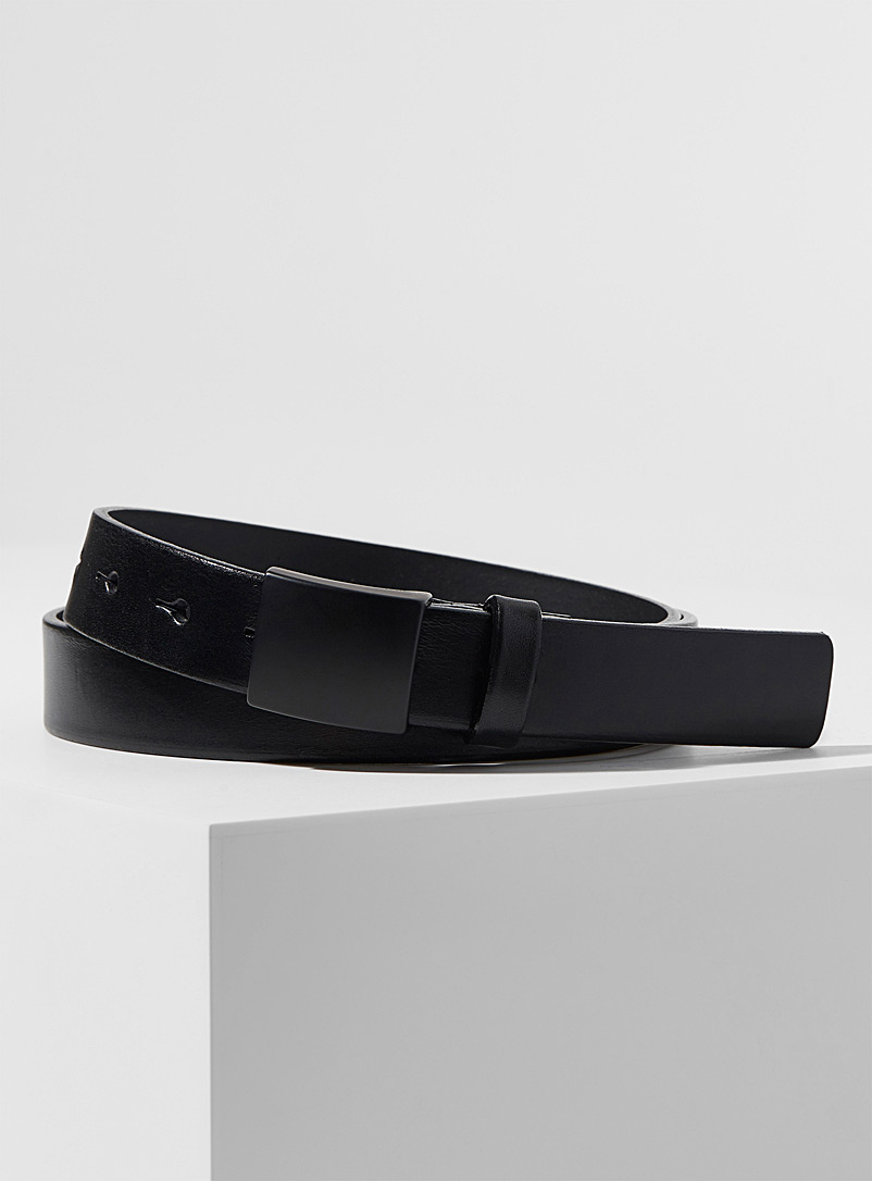 Le 31 Black Thin polished leather belt for men