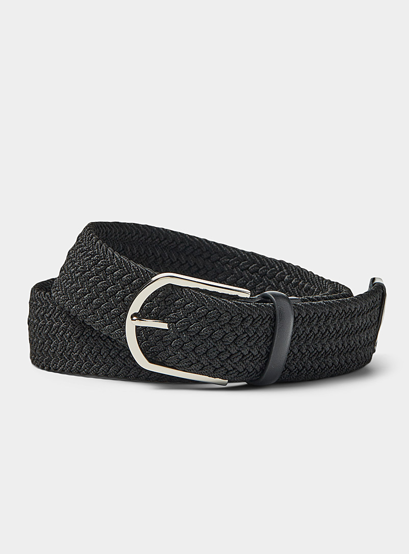 Le 31 Black Leather-detail braided belt for men