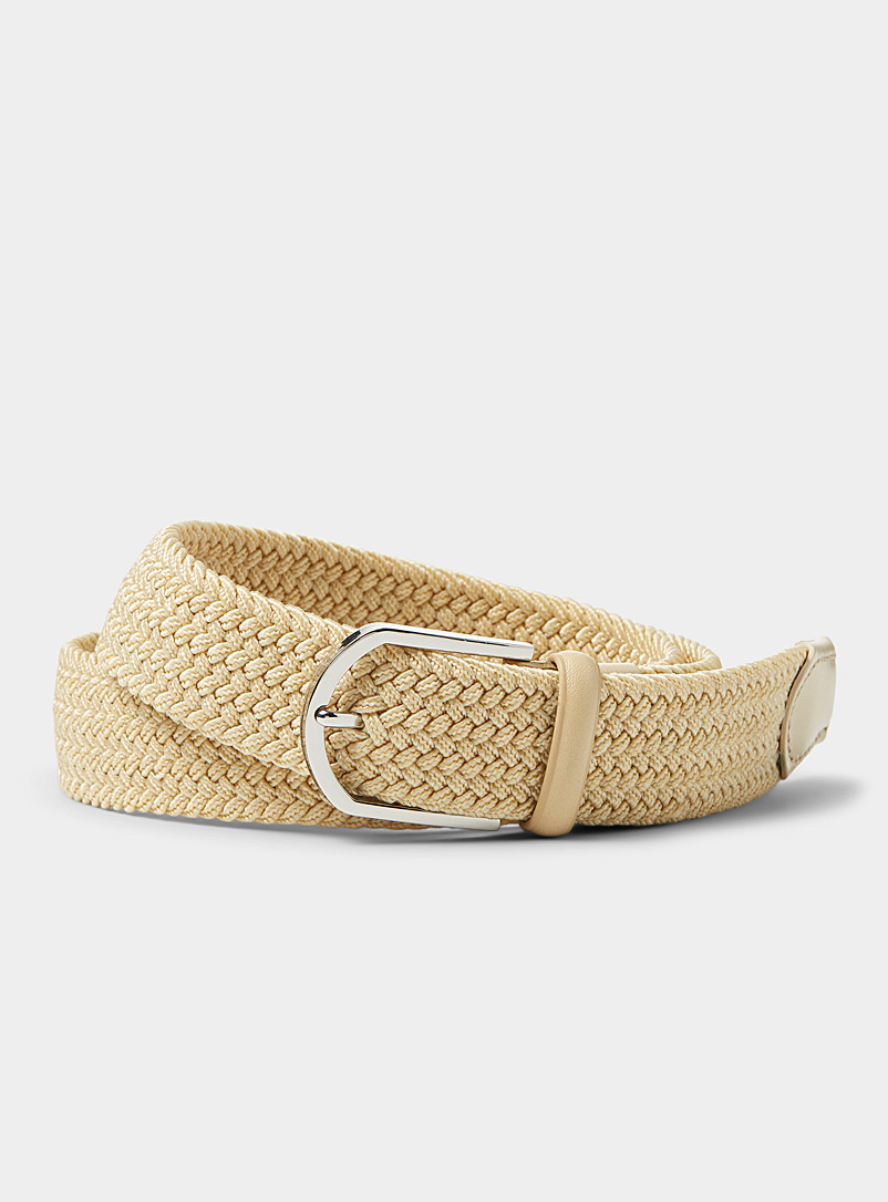 Le 31 Sand Leather-detail braided belt for men