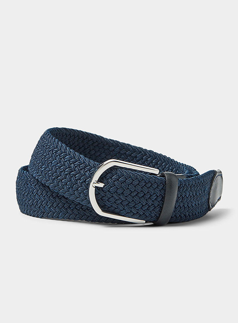 Le 31 Marine Blue Leather-detail braided belt for men