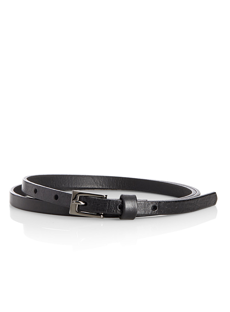 Simons Black Crackled leather skinny belt for women