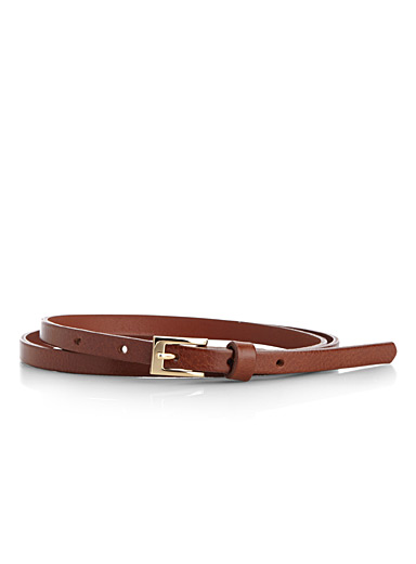 Simons Medium Brown Crackled leather skinny belt for women