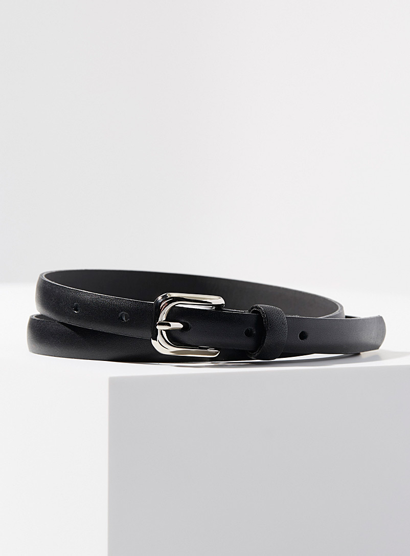 Simons Black Fine matte leather belt for women