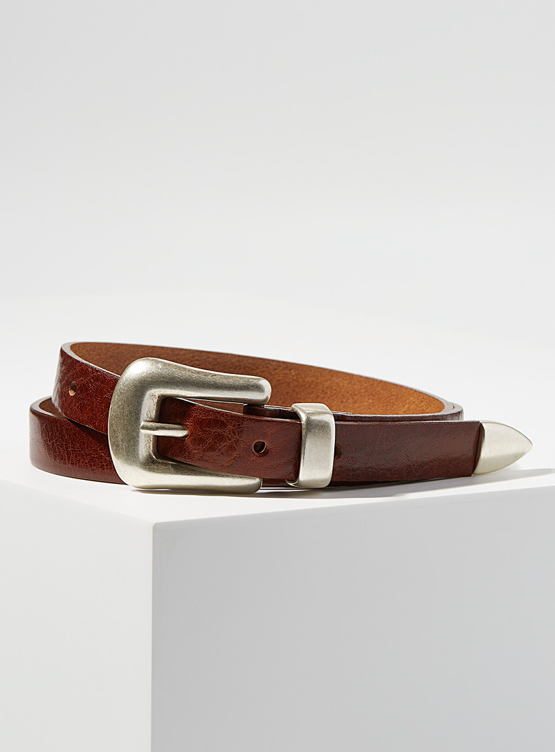 Simons Brown  Skinny equestrian belt for women