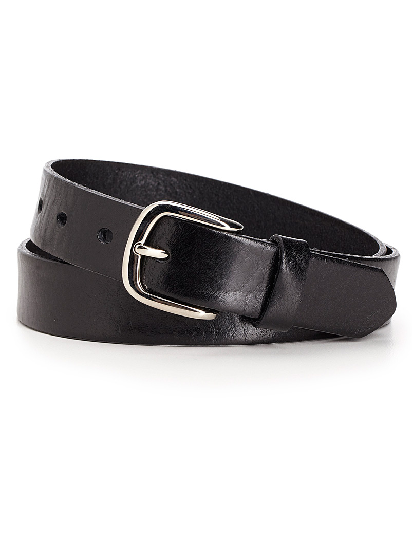 Simons Black Italian leather belt for women