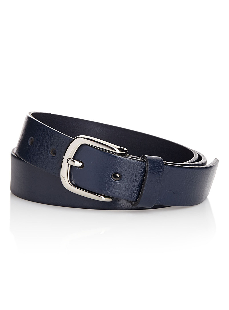 Simons Marine Blue Italian leather belt for women