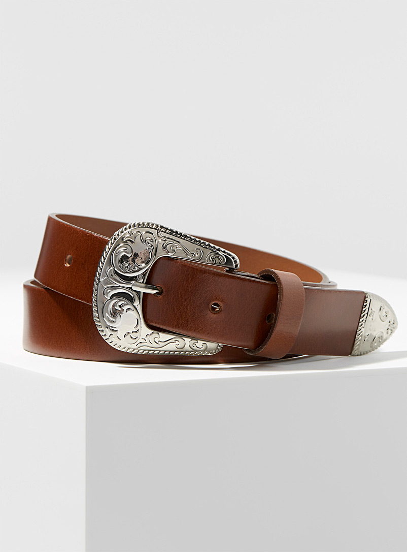 Simons Toast Italian leather Western belt for women