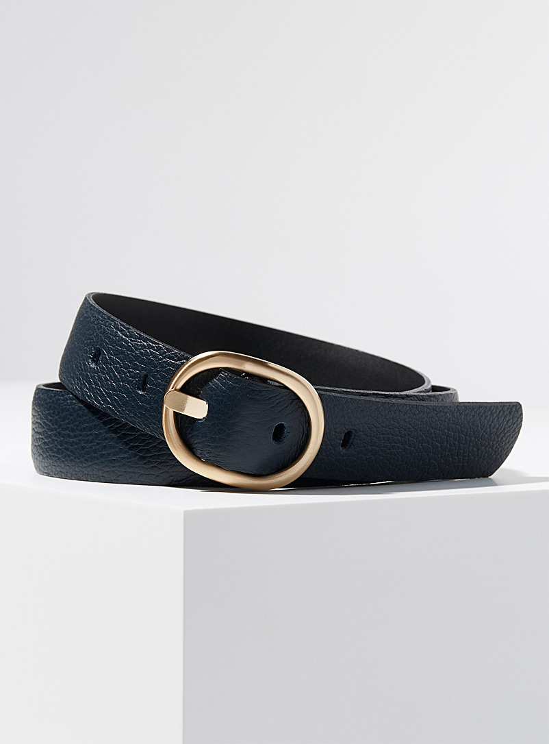 Simons Black Gold oval buckle belt for women