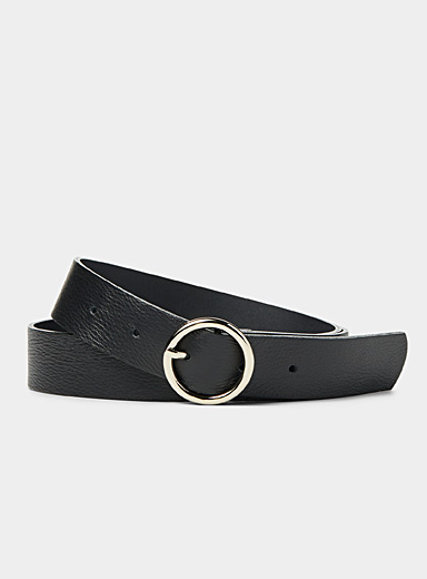 Simons Black Round-buckle belt for women