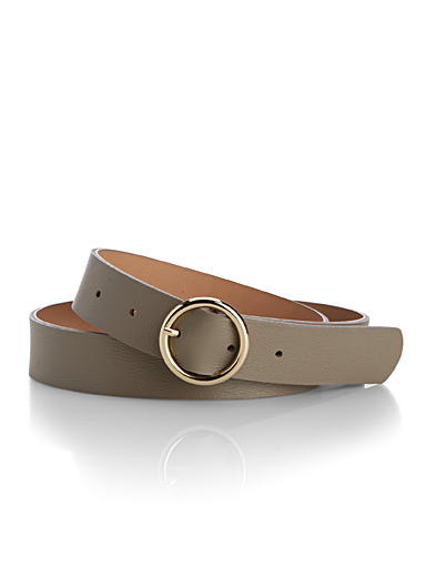 Simons Light Brown Round-buckle belt for women