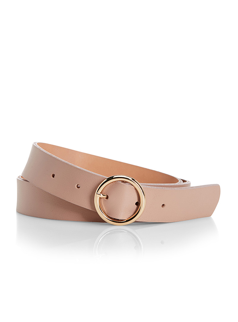 Simons Medium Crimson Round-buckle belt for women