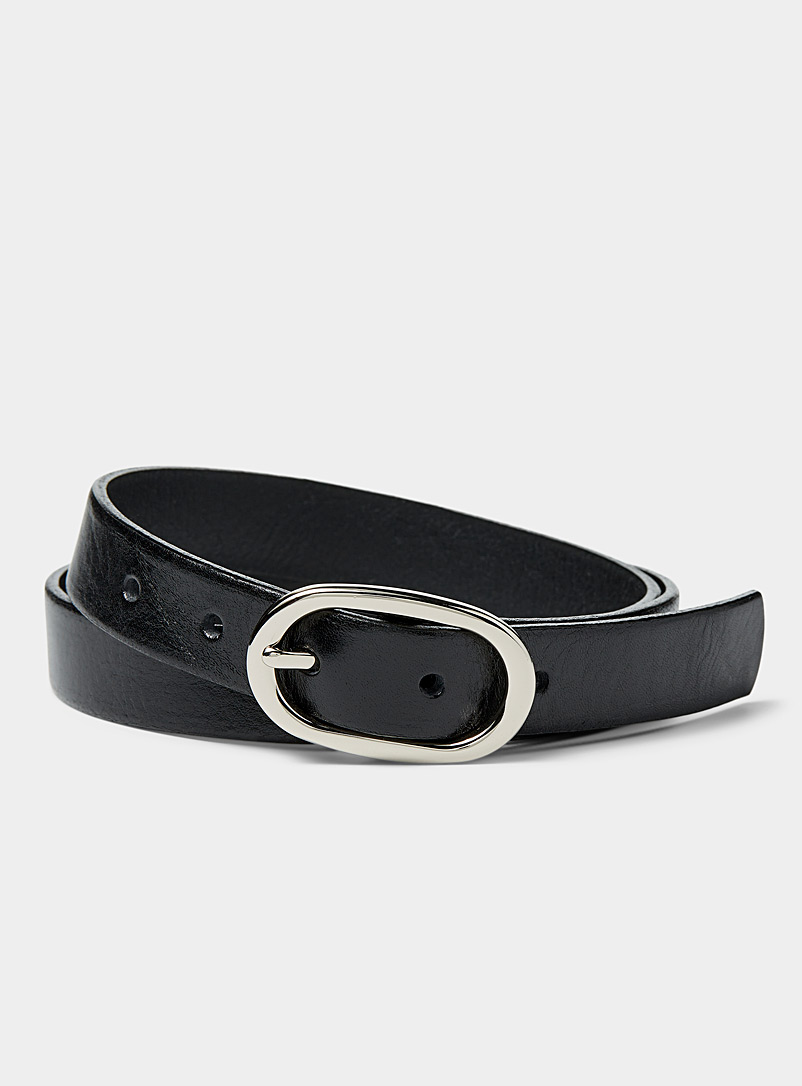 Simons Black Oval-buckle belt for women