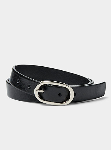 Simons Black Oval buckle belt for women