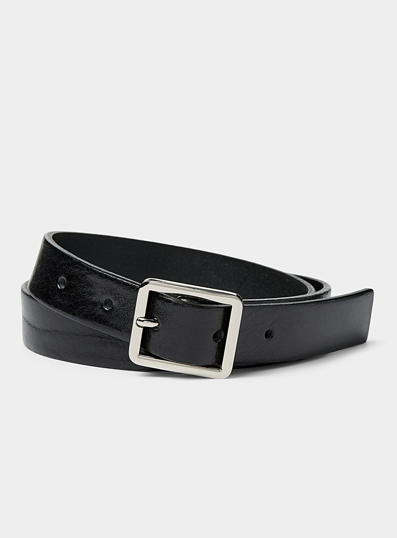 Simons Black Rectangular buckle belt for women