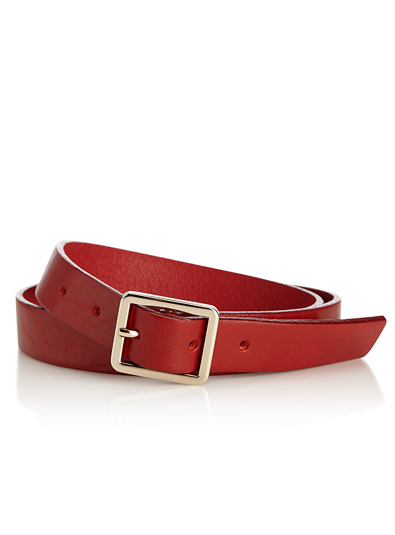 Simons Red Rectangular buckle belt for women