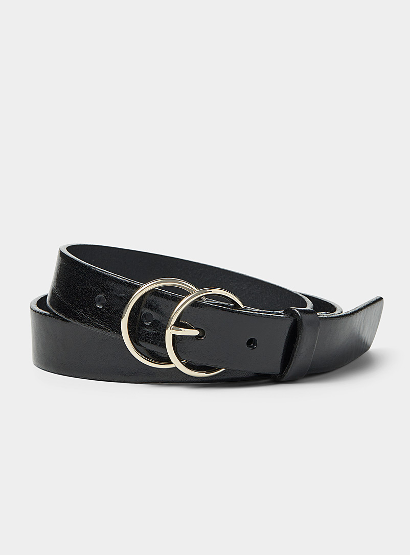 Simons Black Double buckle belt for women