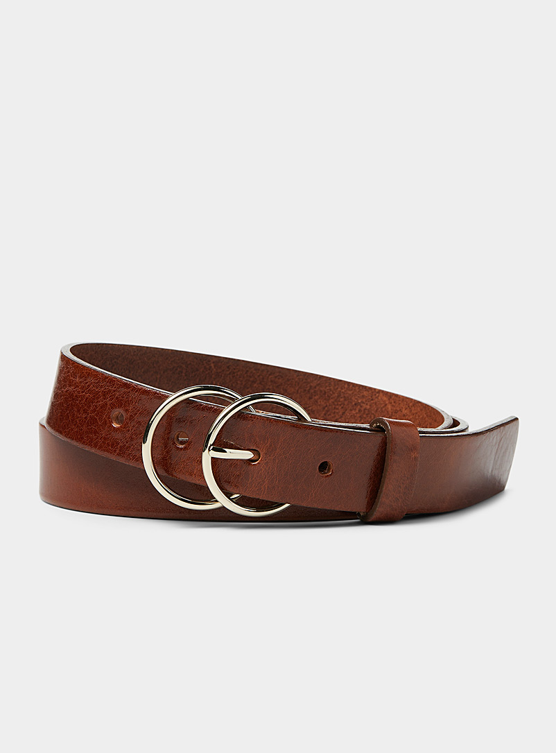 Simons Brown Double buckle belt for women