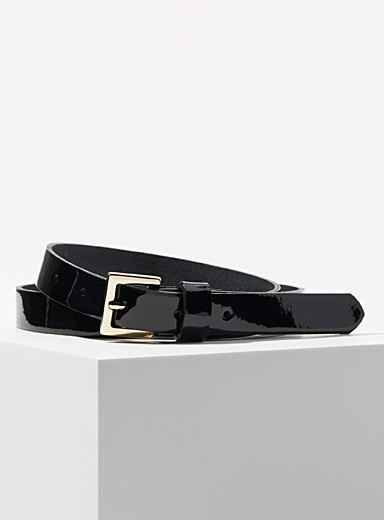Simons Black Polished leather belt for women