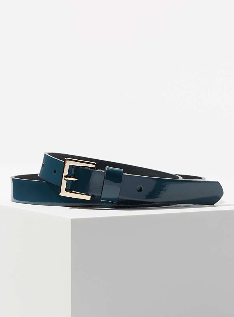 Polished leather belt - Belts - Slate Blue