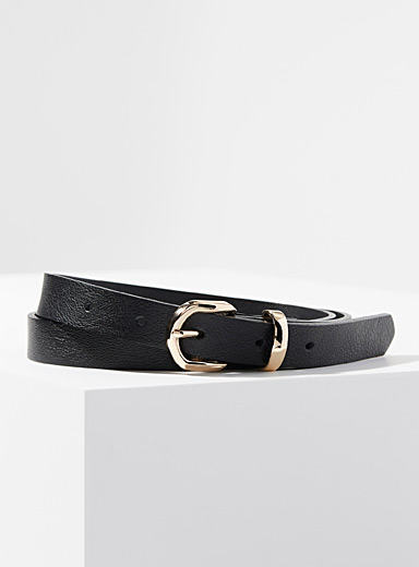 Simons Black Shiny buckle belt for women