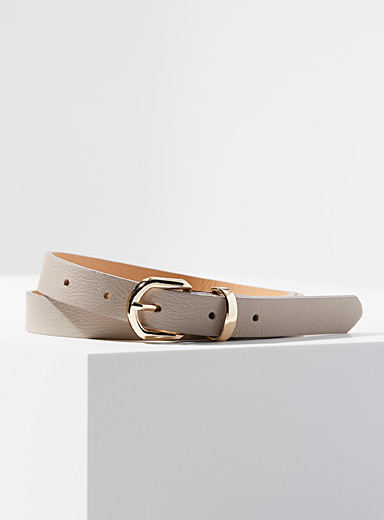 Simons Light beige Shiny buckle belt for women