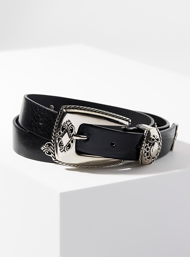 Simons Black Equestrian ornament belt for women