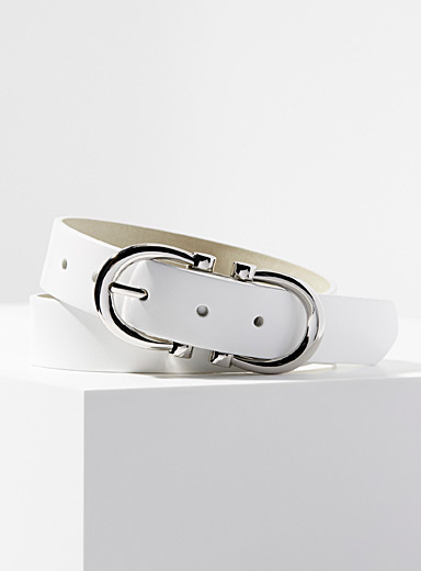Simons White Horseshoe leather belt for women