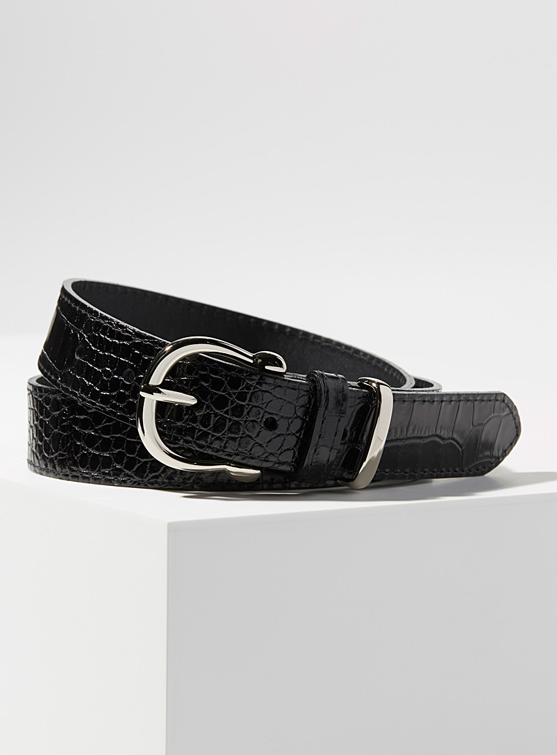 Simons Black Faux-croc silver buckle belt for women