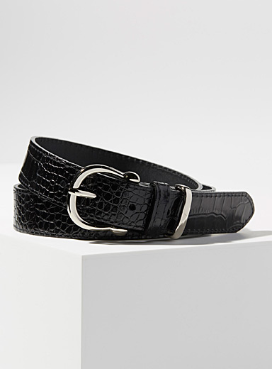 Faux-croc silver buckle belt
