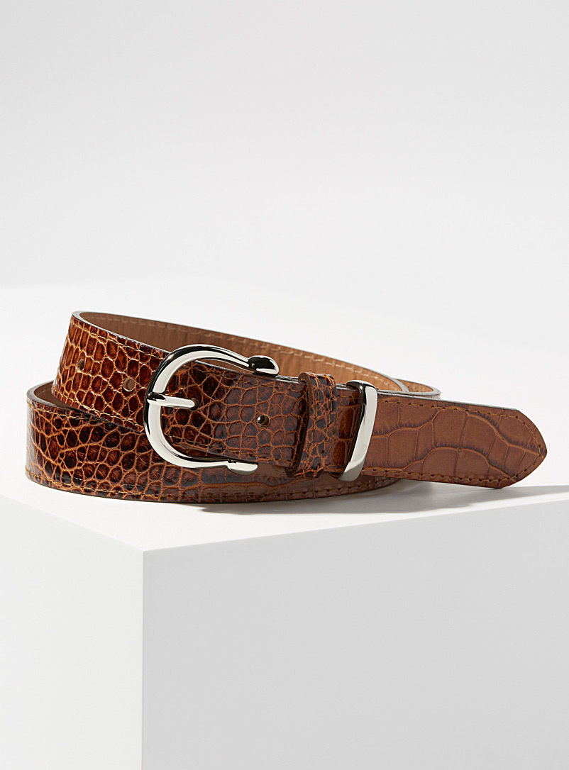 Simons Brown Faux-croc silver buckle belt for women