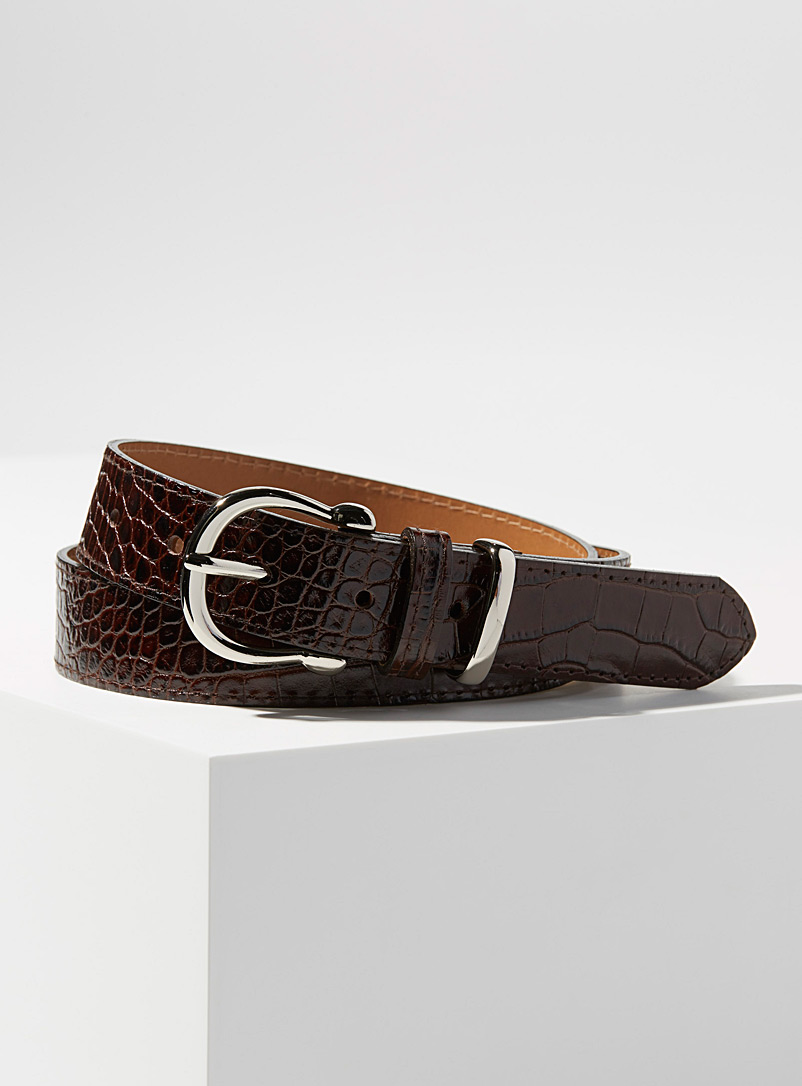 Simons Dark Brown Faux-croc silver buckle belt for women