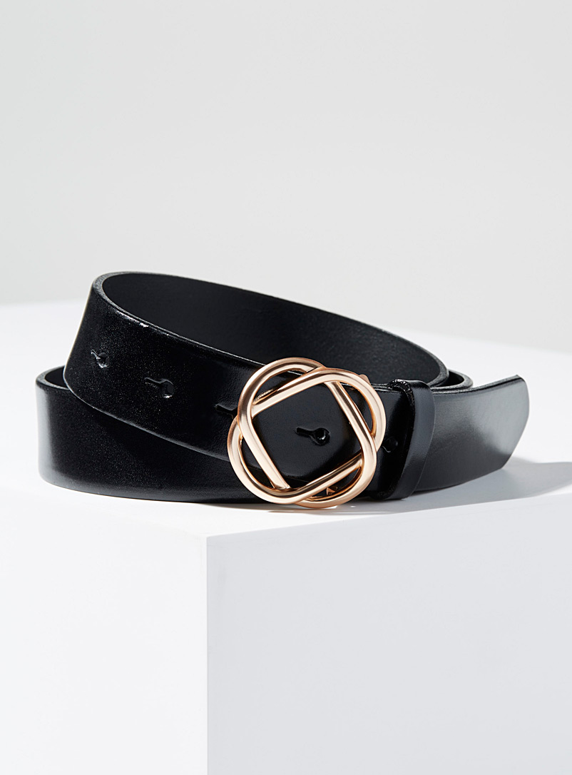 Simons Black Flower buckle belt for women