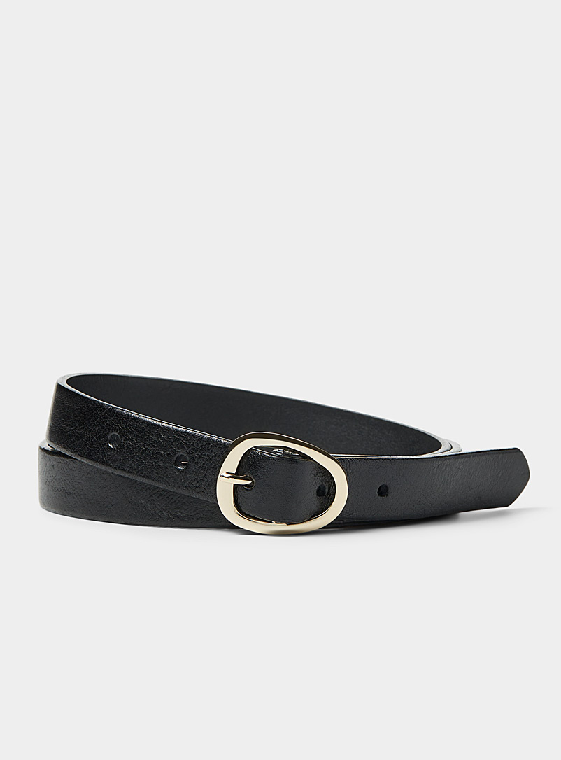 Simons Black Organic oval-buckle slim belt for women