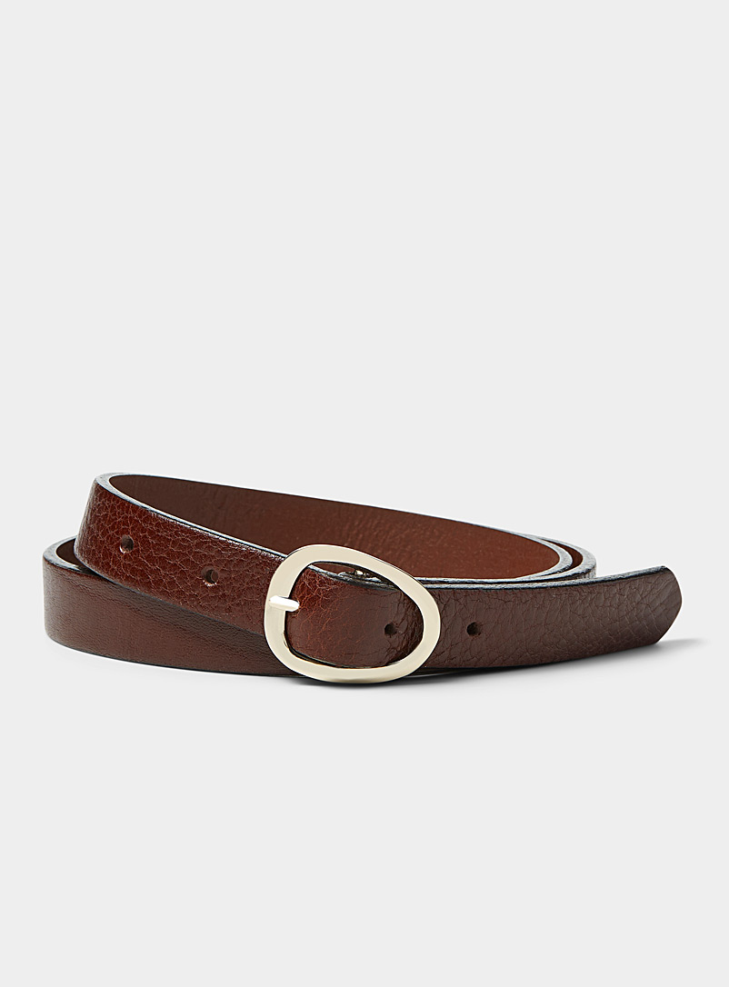 Simons Brown Organic oval-buckle slim belt for women