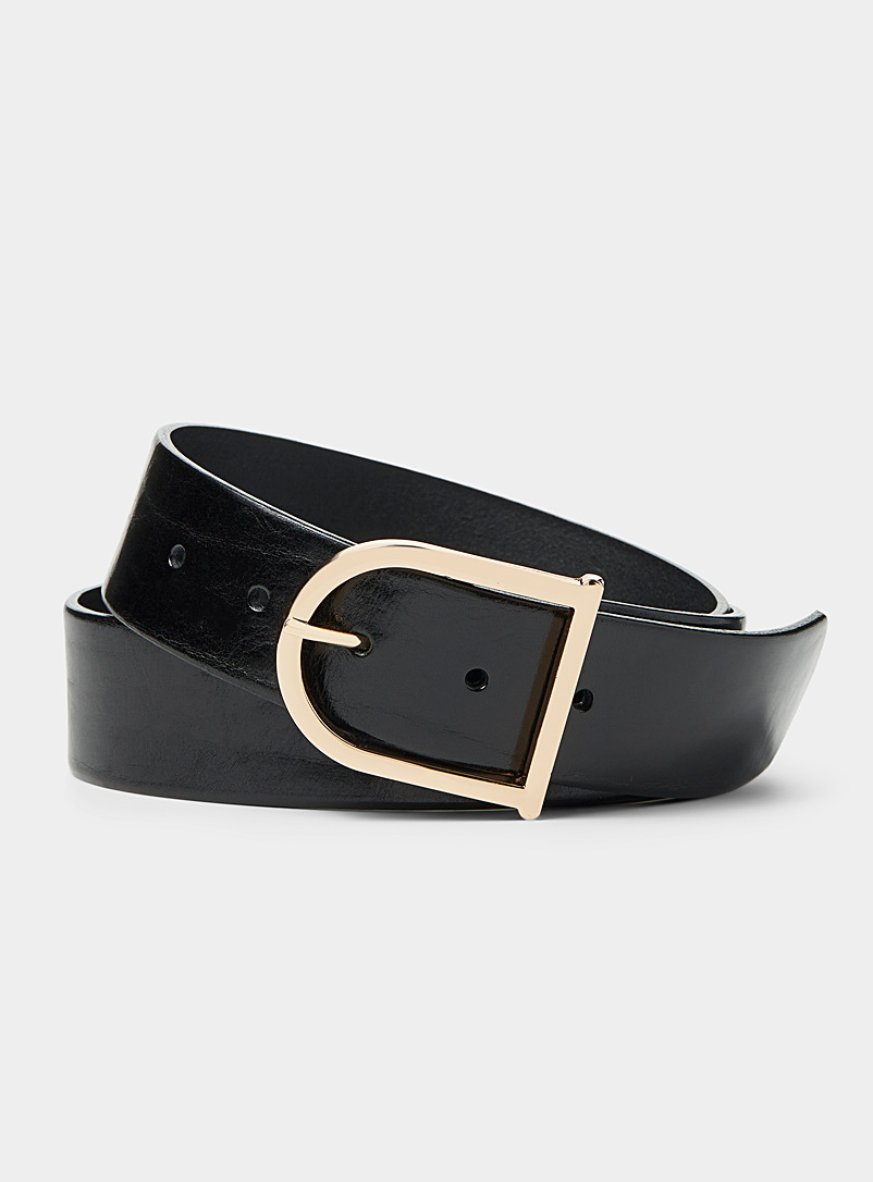 Simons Black Elongated gold buckle belt for women