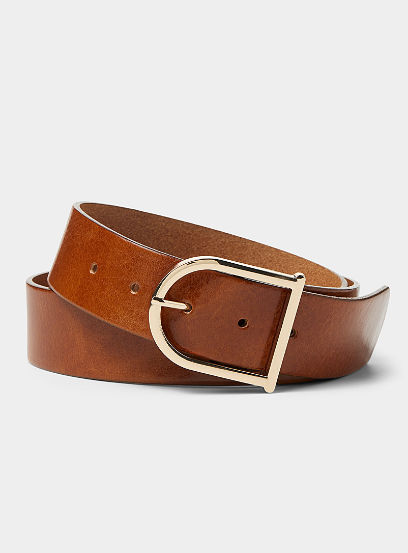 Elongated gold buckle belt