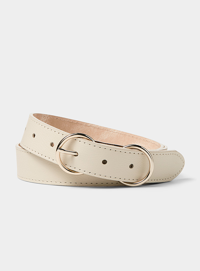 Simons Cream  Thin double buckle belt for women