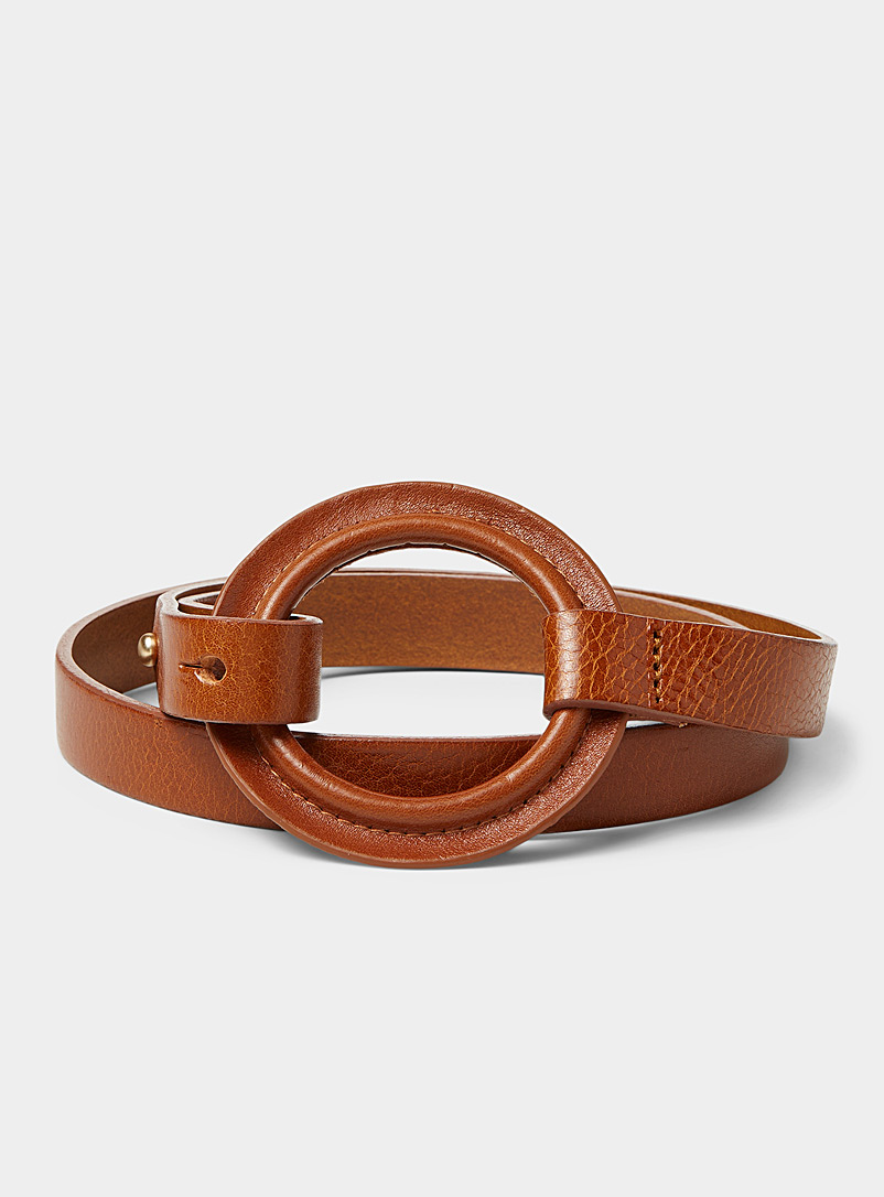 Simons Brown Leather O-ring thin belt for women